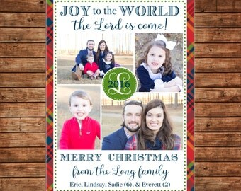 Photo Picture Christmas 4 pictures Tartan Plaid Joy to the World - Digital File