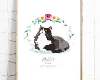 Custom Pet Portrait - Personalised Pet Drawing - Cat Illustration - Pet Birthday - Pet Rememberence - Print or Digital File