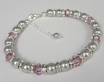 Light Purple Bracelet, Light Amethyst Wedding Bracelet, Light Grey Pearl Bracelet, Gift for Mom, Bridesmaid Bracelet, Bridesmaid Gift