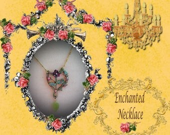 Beauty and the Beast Sparkling Romantic Enchanted Rose Vintage Necklace