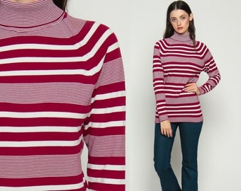 Retro Shirt Mod Top Striped TURTLENECK Long Sleeve Funnel Neck Tee 70s Top Geek Hipster High Neck Retro Burgundy White 1970s Medium Large