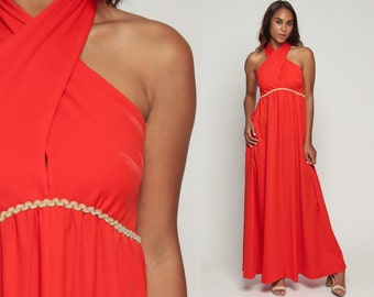 70s Grecian Dress Long Orange 1970s Maxi Boho Party Gown Open Back KEYHOLE Empire Waist Backless Drape Backless Sleeveless Glam Medium