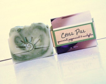 CHILL PILL Essential Oil Soap / Homemade Soap Bar / All Natural Green Mint Soap
