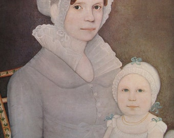 Mrs John Harrison & Daughter/Mary Werner Bangs, American Primitive Painting, 1962 Reproduction Book Page, Color Plate, 9.5 x 12 in
