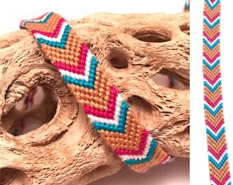 Friendship bracelet - chevron - arrowhead - blue - brown - white - pink - embroidery floss - thread - string - macrame - woven - handmade