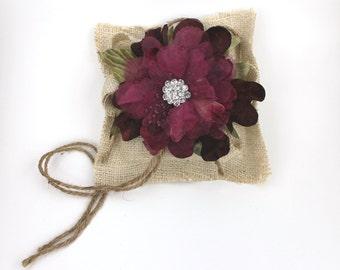 Burlap Ring Bearer Pillow with Burgundy Flower