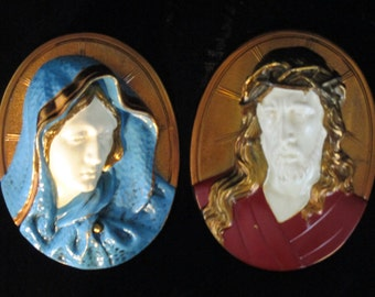 Painted Brass Religious Art 3D Jesus & Virgin Mary  Hanging Wall Plaque Vintage Pair