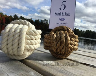 2-7 Nautical Table Number Holders, Cream Knots, Brown Knots, You Choose Amount, You Choose Color, Larger Knots, Manila Rope, Cotton Rope