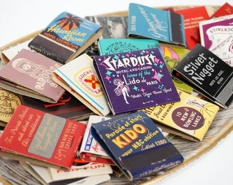 Vintage 1950s 60s Matchbook Grab Bag Set of 35 / Bars Restaurants Hotels Casinos Small Businesses Travel Mid Century Graphics Collectible