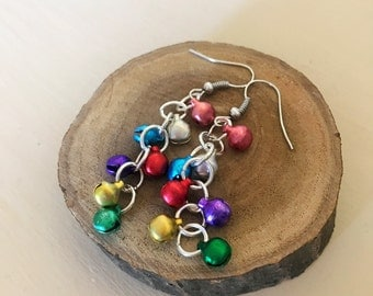 Colorful Mini Jingle Bell Dangle Drop Christmas Earrings