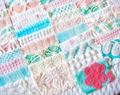 51/6-Inch AQUA, PINK & WHITE Quilt Squares of Vintage Cotton Chenille Fabric