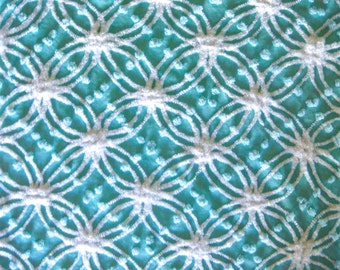Morgan Jones Aqua Pops with White Wedding Ring Plush Vintage Cotton Chenille Bedspread Fabric  12 x 22 Inches