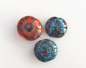 Lampwork Glass Beads SRA Nelli Rees (3) Set of Focals, handmade, loose, turquoise, orange