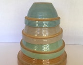 FOUR PRIMITIVE BOWLS, Monmouth Pottery/Maple Leaf Marking/Turquoise Blues Greens/Mixing Bowls/Bowl Set/Mixing Bowl Set/A Vintage Revolution