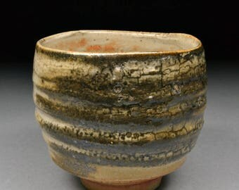 Large Handmade Stoneware Yunomi Tea Cup glazed with Alberta Slip and Carbon Trap Shino