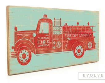 Vintage Fire Truck Wall Art - Boys Room Firetruck Print Decor - Boys Nursery Fire Engine Wood Sign - 12x24 & 16x32