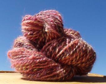 Hand Spun Border Leicester Wool Yarn 70 yards Rose, Peach and Purple