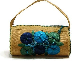 Vintage Straw Handbags Floral Handbags Vintage Straw Purse Ladies Straw Handbags