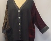 Coco and Juan, Plus Size Tunic, Lagenlook Mixed Knit, Shirt Jacket, Plus Size Top, #2 OS 1X, 2X, 3X Bust to 66 inches