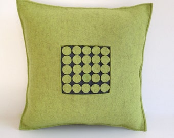 Green Felt Pillow, Graphic Pillow, Green and Gray Pillow, Wool Pillow, Contemporary Felt Pillow
