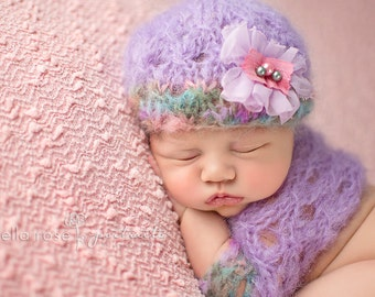 Mohair Spring Beanie Shrug Newborn Baby Outfit Photo Prop Set Girl Going Home Coming Cap Hand Knit Shower Gift Infant Photography Knitted
