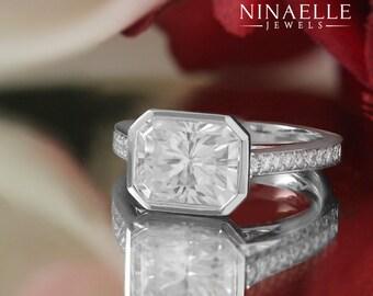 9X7 Radiant Cut Forever Brilliant Moissanite & Diamonds Bezel Set Ring