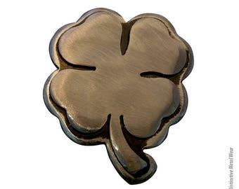 4-LEAF Clover Belt Buckle/ by WATTO Distinctive Metal Wear-/Handmade Metal Silver Clover Belt Buckle/ Lucky Clover/Clover Buckle/Cool Buckle