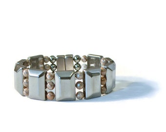 Magnetic Hematite Therapy Bracelet with Snowflake Jasper Gemstones, Men's Pain Relief Jewelry