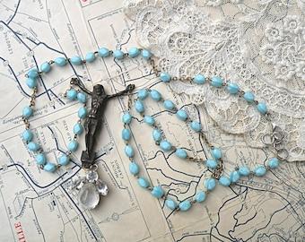 necklace religious assemblage rosary Jesus rhinestone Catholic beaded blue upcycled vintage jewelry