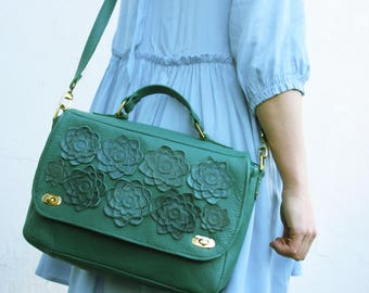 GREEN Leather bag womens succulent, leather purse   ipad bag Cross Body Bag  Floral Bag leather spring fashion greenery, messenger for mom