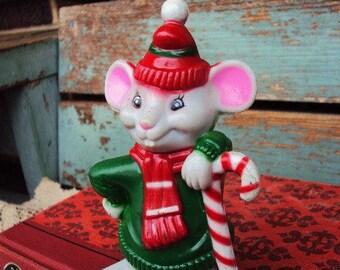Vintage Christmas Mouse Stocking Hanger Holder Shelf Sitter Mice Retro Mid Century Kitsch Christmas Decoration J.S.N.Y.