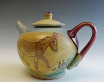 Sm Teapot- Donkeys in a Meadow