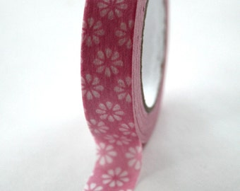 Washi Tape - 15mm - White Flower on Pink - Deco Paper Tape No. 252