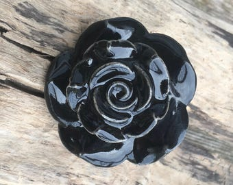 Large Black Flower Drawer Knobs - Decorative Knobs in Black (CK31)