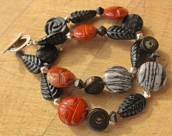 Tribal Deco Wrap Bracelet in Red Brick, Black, and Sterling