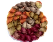 Hand Dyed Polwarth Mohair Silk Wool Top 4.2 oz - Wine Country