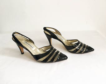 Vintage 80s Does 50s Black Patent Leather Lucite Striped Sling Backs size 6 36 Kitten Heels Shoes Pumps 1980s 1950s Pin Up VLV Rockabilly