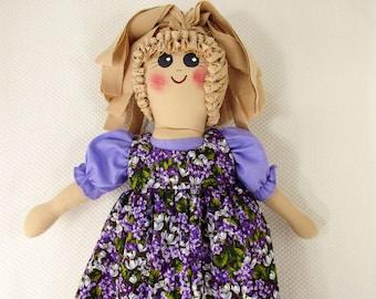 Plastic Bag Holder  Doll, Purple Flowers, Grocery Bag Holder, Kitchen Doll, Plastic Bag Storage, Country Kitchen Storage, Rustic Doll