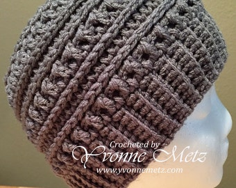 """MADE to ORDER - Crocheted  Katniss """"Inspired"""" Messy Bun Hat, Teen/Adult Size, Ponytail hat, Mom Bun"""
