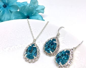 Blue Prom Jewelry Set Pear Shaped Blue Prom Jewelry Halo Necklace Sarina