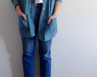 Jean Jacket Vintage Denim Oversized Chore Jacket