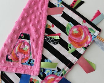 taggie, blanket, personalized, baby, girl, gift, flowers, black, white, pink, roses, minky, ribbon, lovey