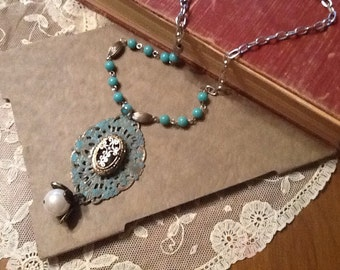 Turquoise and silver necklace, repurposed, recycled, romantic, victorian, boho, shabby chic, vintage