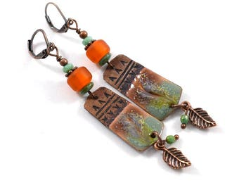 Turquoise and Orange Copper Boho Chic Earrings, Copper Earrings, Chestnut Earrings, Artisan Earrings, Boho Earrings, OOAK Earrings, AE218