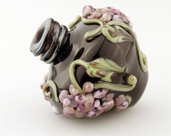 Hollow Lampwork Glass Bead, Urn Focal, Black with Grapes