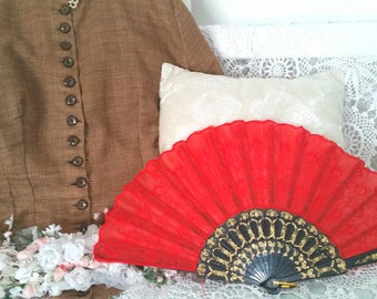 victorian fan , red steampunk fan, victorian costume, steampunk costume, 90s does victorian, edwardian fan