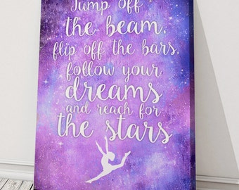 """Jump Off the Beam flip off the bars Gymnastics quote Canvas art print typography picture 12x16"""""""
