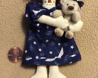 Miniature Handsewn Rag Doll & Teddy Bear Pair