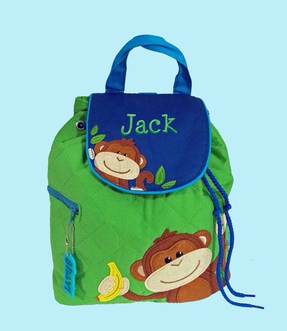 Personalized Stephen Joseph MONKEY Backpack Green and Blue