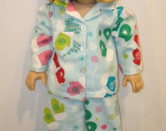 "18 inch doll clothes, Fits 18""American girl doll, pajamas, Ready to ship, AG Doll, Flannel, Mittens, Snowflakes"
